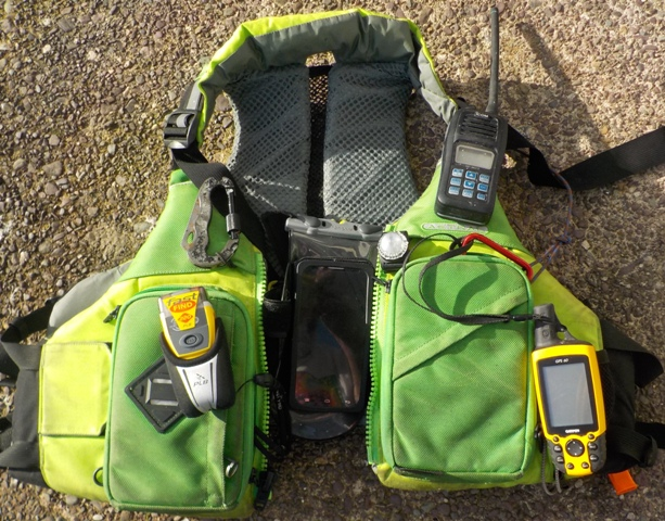 My PFD, PLB, VHF, Strobe, Knife, GPS & Phone. Emergency communication devices need to be tied to you!